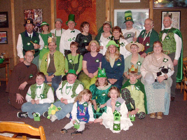 A group photo from Mike and Jennifer's Luck Of The Irish party