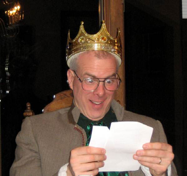 A photo of Tad playing King Laoghaire for The Luck Of The Irish party