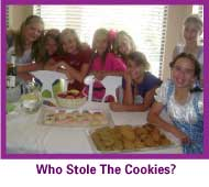 Girls playing who stole the cookies